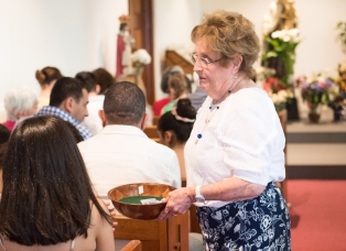 Collection being taken at Sunday Mass